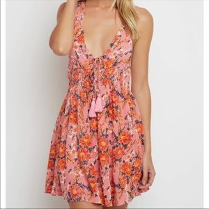 Free People bright floral dress with tassels